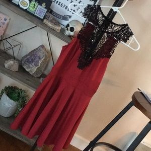 Material Girl dress, red w/ black lace. Size M✨